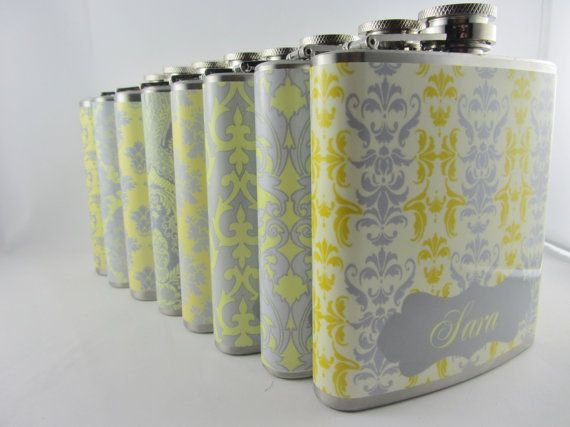 Personalized Bridesmaids Flask set in Gray and Yellow