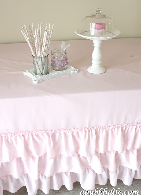 bubbly life diy no sew ruffle tablecloth for less than 10