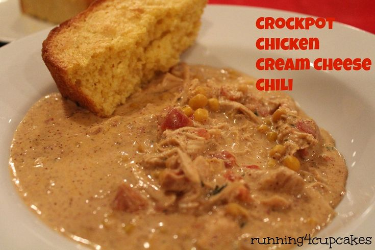 Crockpot Chicken Cream Cheese Chili - running4cupcakes
