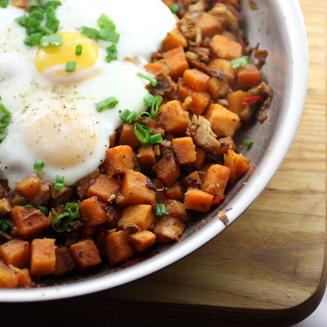 Turkey Sweet Potato Hash with Basted Eggs - really great way to use ...