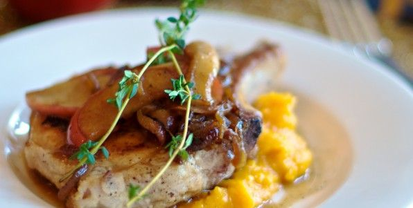 Pork Chops with Roasted Butternut Squash Pureé and Caramelized Apple ...