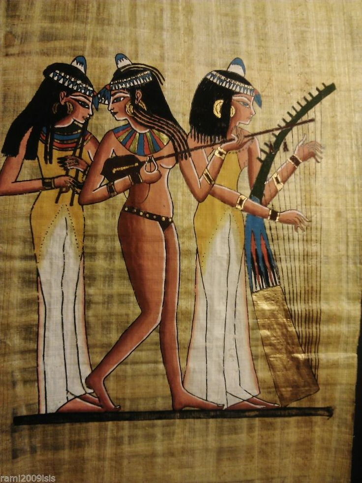 Vintage egyptian hand painted papyrus painting ancient for Egyptian fresco mural painting