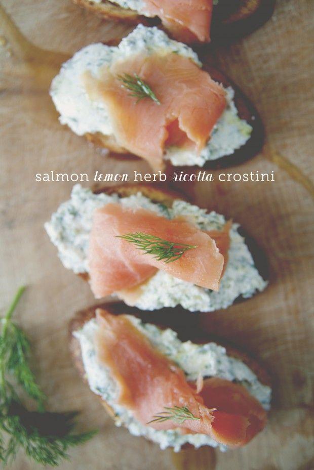 Smoked Salmon with Lemon Herb Ricotta Crostinis