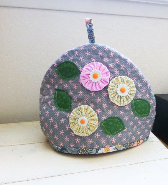 Fabric tea cozy gray pink floral kitchen by StitchyImpressions, $19.99