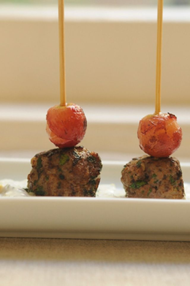 ... meatballs kefta style meatballs with grilled grapes and yogurt sauce