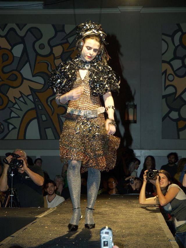 """T-spot's cassette tape dress"" http://knithacker.com/?p=9249  - great story here, hope you'll check it out. #crochet #cassette #knithacker"