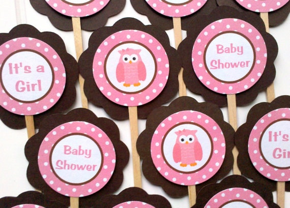pink owl theme baby shower decorations owl cupcake toppers in pink