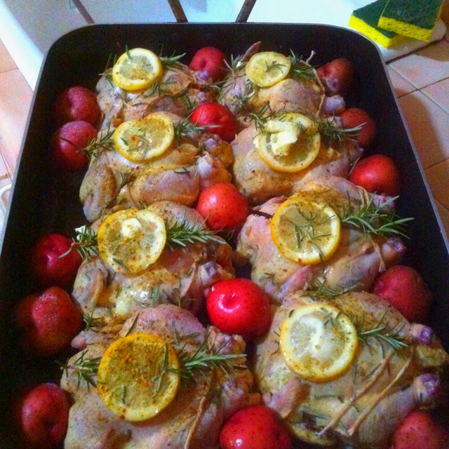Stuffed Cornish hens with lemon and rosemary