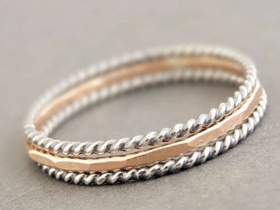 Rose Gold Rings Thin Stackable Rose Gold Rings