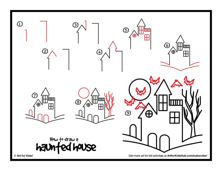 Download how to draw a haunted house art with kids for Easy haunted house to draw