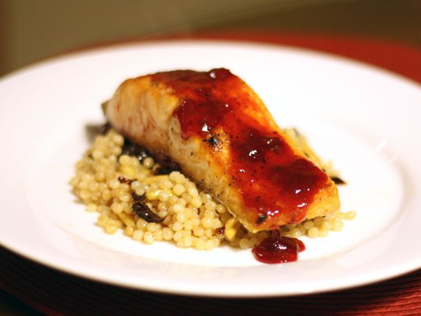 Salmon with Cherry Sauce and Israeli Couscous - Salmon with couscous ...