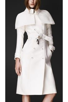 It's like the world wants me to suffer...Cara Delevingne BURBERRY PRORSUM White Cotton Duchesse Satin Cape Trench Coat