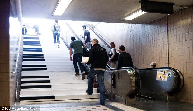 Playing the piano while walking the stairs! Great idea, just love it!