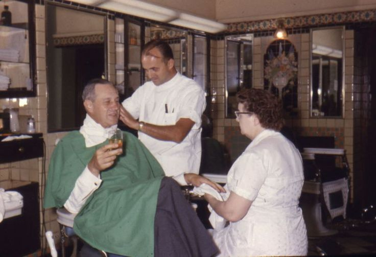 The barber shop in the Pfister Hotel, Milwaukee, WI. Noted, Edmond ...