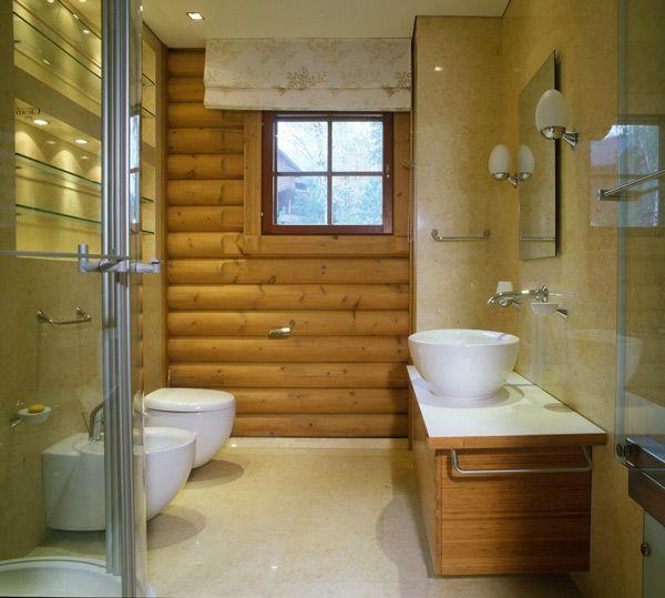 Log cabin bathroom log homes pinterest for Log cabins with bathrooms
