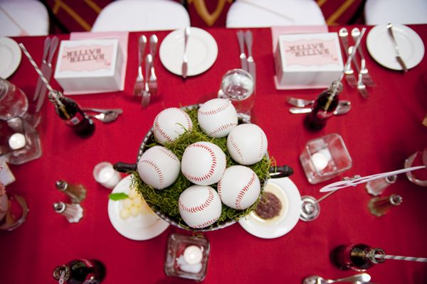 Baseball topiary for center pieces