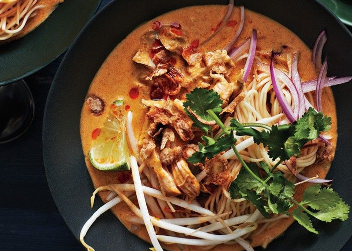 ... khao soi egg noodles with rich chicken curry sauce mustard with