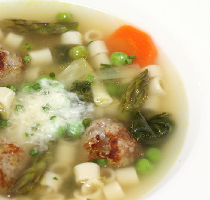 Minestrone Soup with Spring Vegetables and Chicken Meatballs | Recipe