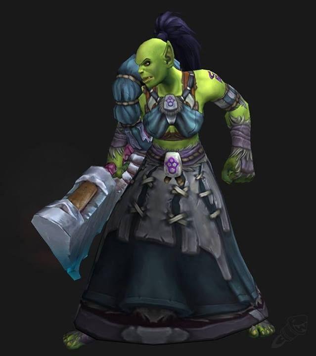 Wod female orc updated model world of warcraft pinterest