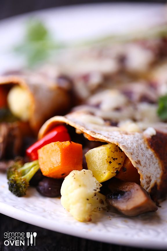 Roasted Vegetable Enchiladas -- just use your favorite veggies and ...