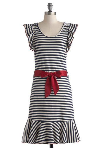 Good Times Roll Dress in Stripes by Effie's Heart - Jersey, Cotton, Knit, Long, Blue, White, Stripes, Pockets, Ruffles, Belted, Casual, Sheath / Shift, Cap Sleeves, Better, Scoop, Red, Nautical, Summer, Variation