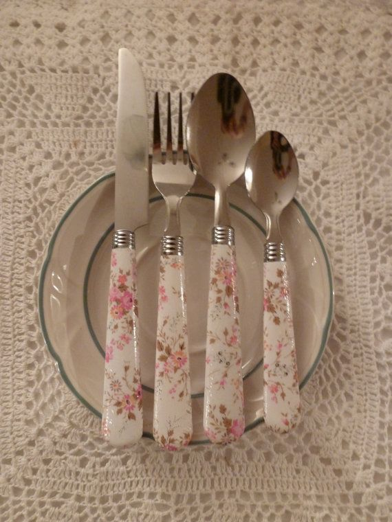 Pastel Floral Cutlery Set by GingernutCrafts on Etsy, £5.00