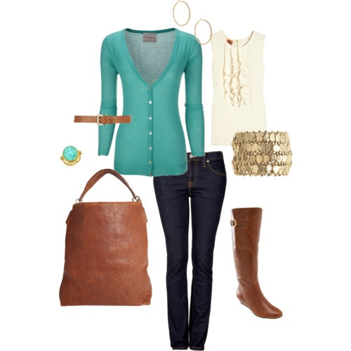 #cardigan #tank #jeans #teal #boots #gold