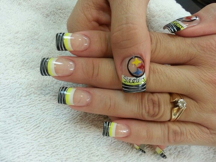 Steelers Acrylic Nails Steelers Nail Designs