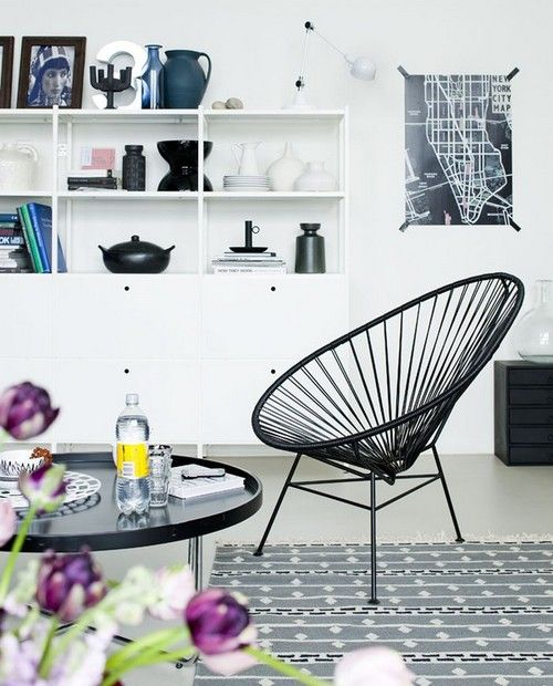 Acapulco chair black and white interior living room