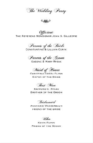 Sample wedding reception programs holman pike wedding pinterest for Wedding reception programme sample