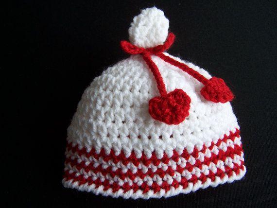 Crochet Valentine Hat : Valentine Crochet Beanievalentine hat newborn hat by dreamlandbaby
