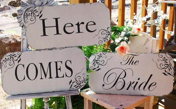 Here The BRIDE Wedding Signs Wedding Decorations Cottage Flower Girl DOUBLE Sided Cottage ORIGINAL Designer 15x7.5 Set of 3