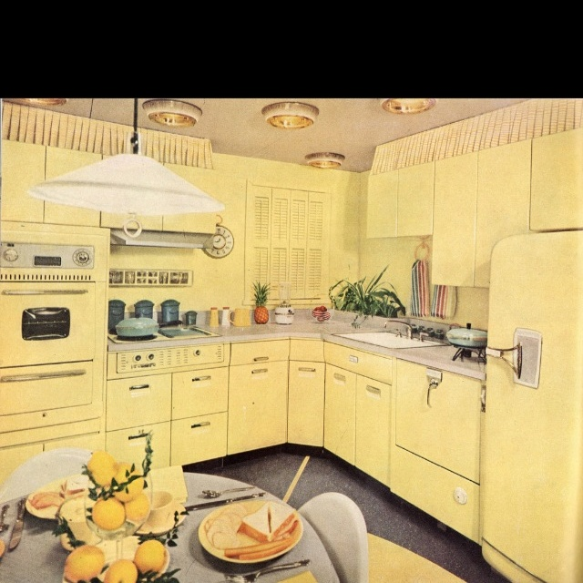 in a kitchen Lemon yellow Sunshine yellow Yellow yellow yellow