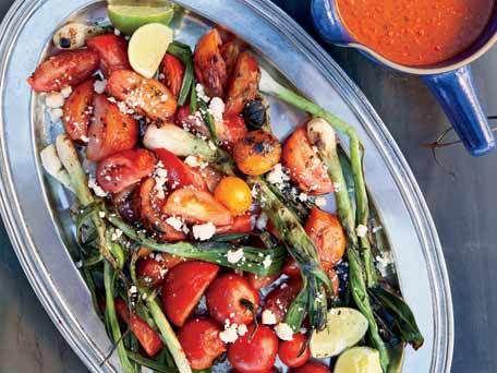 Grilled Tomato-and-Scallion Salad - love tomatoes, love scallion.