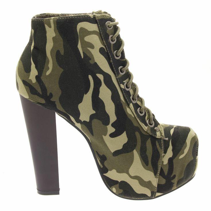 camo lace up chunky high heel platform ankle