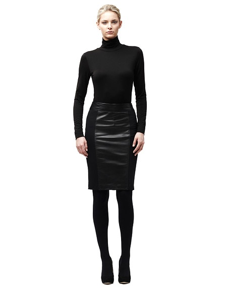 danier leather and fabric pencil skirt fashion