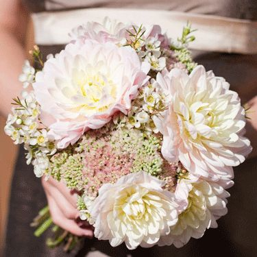 Sedum and dahlia bouquet