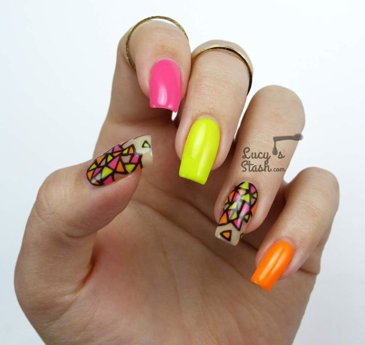 Neon Stained Glass Nail Art | Gel Polish Nails For Nsi http