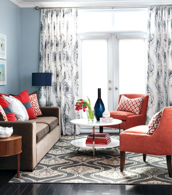 Blue coral living room color ideas navy blue orange for Coral living room ideas