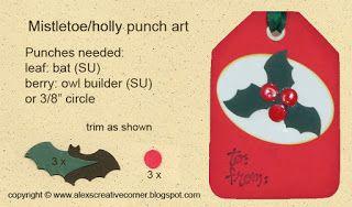Alex's Creative Corner - Mistletoe and holly punch art instructions