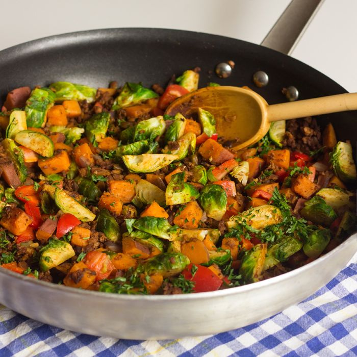 Sweet Potato and Brussels Sprouts Hash #yum! how have I never thought ...