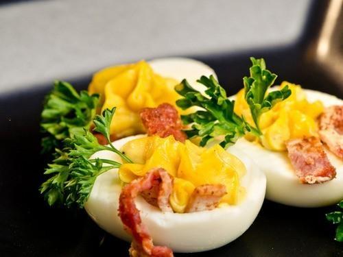 Bacon Balsamic Deviled Eggs | yummy food | Pinterest