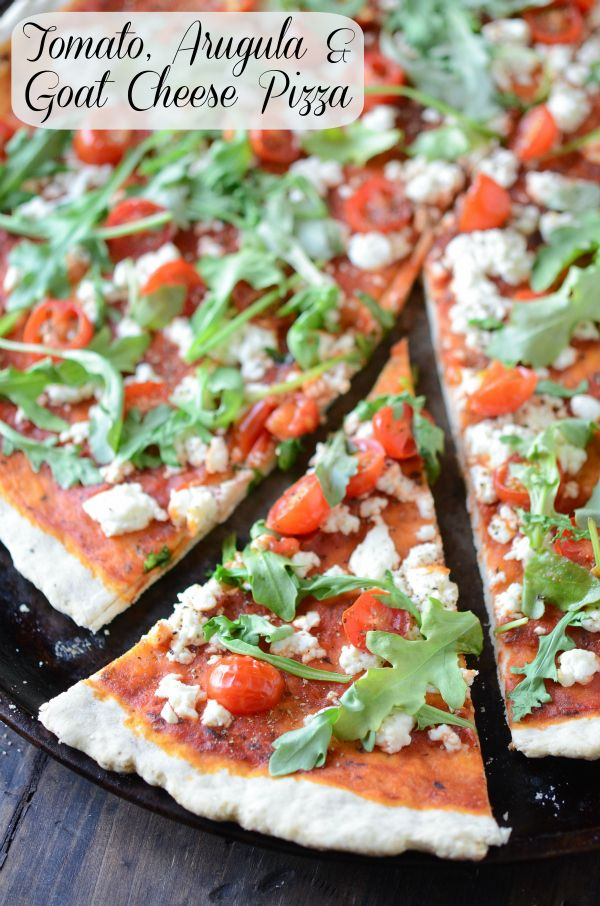 Tomato, Arugula and Goat Cheese Pizza from www.thenovicechefblog.com