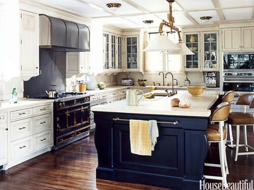 Navy blue kitchen island  Colorful Kitchens  Pinterest