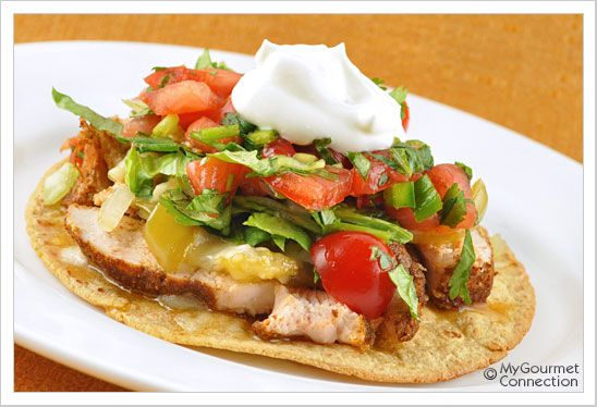 Grilled Chicken and Tomatillo Tostada from MyGourmetConnection.com