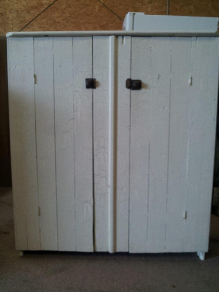 Your custom made rustic barn wood double vanity with doors and drawer
