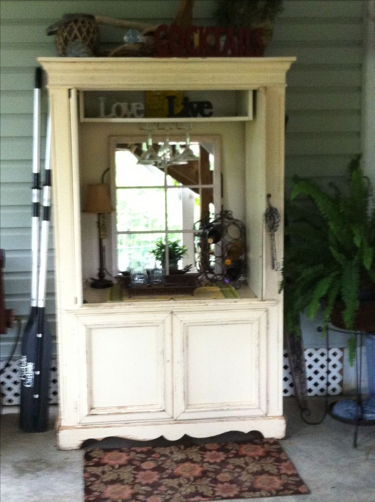 Repurpose and old TV armoire into a beautiful outdoor ...
