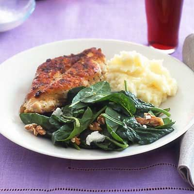 Weekend Dinner, Pan fried Chicken Garlic Mashed Potatoes Spinach Salad ...