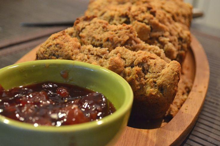 homemade whole-wheat peanut butter bread with fresh jam. PB&J power!!!