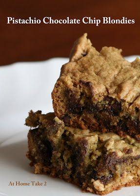Pistachio Chocolate Chip Blondies : athometake2 - pp: These are chewy ...